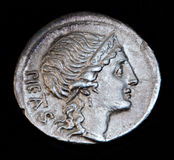 Oud Roman Muntstuk Pietas Royalty-vrije Stock Foto's