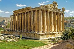 Oud Roman Temple van Baccdhus - God van Wijn - in Baalbek in Libanon stock foto
