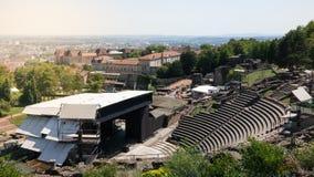 Oud Roman theater in Lyon met overlegstadium met mooi landschap in Frankrijk royalty-vrije stock afbeeldingen
