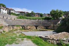 Oud Roman Theater in Ohrid Macedonië Stock Afbeeldingen