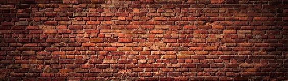 Oud Rood bakstenen muurpanorama royalty-vrije stock afbeelding