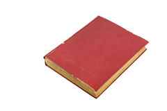Oud rood boek op witte achtergrond Stock Afbeelding