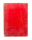 Oud rood die dekkingsboek op witte achtergrond wordt geïsoleerd Stock Fotografie