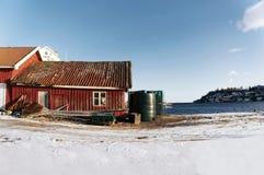 Oud rood vissershuis, Noorwegen Royalty-vrije Stock Fotografie