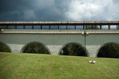 Oud Rostokinskiy-aquaduct in Moskou Stock Fotografie