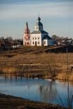 Oud Russisch stadslandschap met kerk Mening van Suzdal-cityscape Royalty-vrije Stock Foto