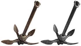 Oud Rusty Folding Grapnel Anchor stock fotografie