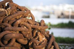 Oud Rusty Metal Chain Industrial Concept Stock Foto