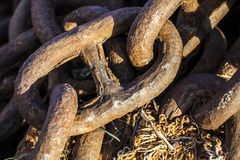 Oud Rusty Metal Chain Industrial Concept Stock Foto's