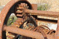 Oud Rusty Winch Stock Afbeeldingen