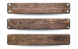 Oud ruw houten plankenteken Geïsoleerd op Wit met het Knippen van Weg royalty-vrije illustratie