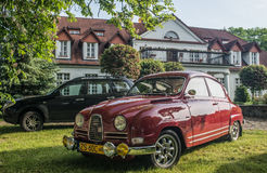 Oud Saab 95 auto stock afbeeldingen
