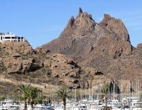 Oud San Carlos Marina Shot, Guaymas, Sonora, Mexico stock foto's