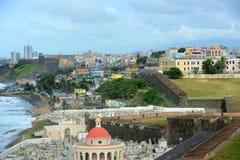 Oud San Juan City Skyline, Puerto Rico stock afbeelding