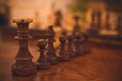 Oud schaak in macro Royalty-vrije Stock Foto's