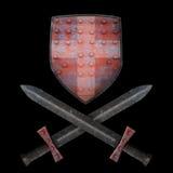Oud schild en twee zwaarden Stock Afbeeldingen