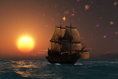 Oud schip bij zonsondergang Stock Fotografie