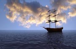 Oud schip bij zonsondergang Stock Foto