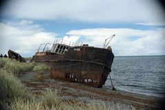 Oud schip in Chili Royalty-vrije Stock Foto
