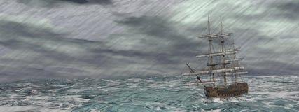 Oud schip in het 3D onweer - geef terug Royalty-vrije Stock Afbeeldingen