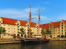 Oud schip in Kopenhagen, Denemarken Stock Foto's