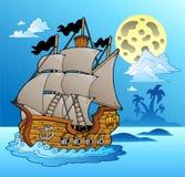 Oud schip in nachtzeegezicht vector illustratie