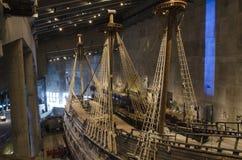 Oud schip in Vasa Museum Stockholm Stock Foto's