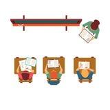 Oud-schoolklasse met hierboven Bord van Royalty-vrije Stock Afbeelding