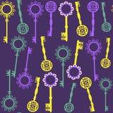 Oud sleutels naadloos patroon en naadloos patroon in monstermenu. C Stock Afbeeldingen