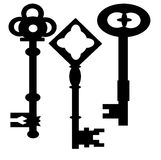 Oud sleutelssilhouet (vector) Stock Afbeeldingen
