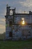 Oud slot in de ochtend Stock Afbeeldingen