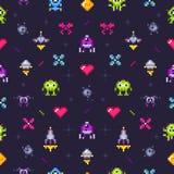 Oud spelen naadloos patroon Retro gokken, pixelvideospelletje en de arcade vector van de pixelkunst illustratie als achtergrond stock illustratie