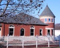 Oud spoorwegdepot in Grinnell, Iowa Royalty-vrije Stock Afbeeldingen