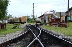 Oud spoorwegspoor in Tumpat, Kelantan stock afbeelding