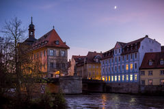 Oud Stadhuis in Bamberg bij zonsondergang Royalty-vrije Stock Foto's