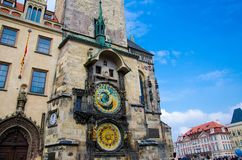 Oud Stadhuis en Astronomische Klok, Praag, Tsjechische Republiek stock foto's