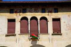 Oud Stadhuis met fresko's in Oderzo in de provincie van Treviso in Veneto (Italië) Royalty-vrije Stock Afbeelding