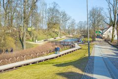 Oud stadscentrum in Kuldiga, Letland Stock Foto's