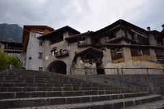Oud stadsdorp Rango Trentino, selectie één van het mooiste dorp in Italië Stock Foto