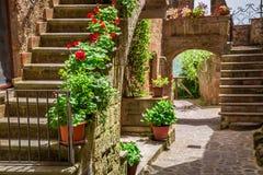 Oud stadshoogtepunt van bloemrijke portieken in Toscanië royalty-vrije stock afbeelding