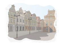 Oud stadsvierkant in Polen royalty-vrije illustratie