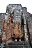 Oud standbeeld van Boedha, Oude Stad Polonnaruwa, Srí Lanka Royalty-vrije Stock Fotografie