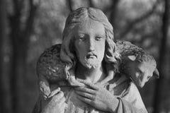 Oud standbeeld van Jesus Christ Good Shepherd-geloof, godsdienst, C royalty-vrije stock foto