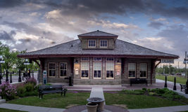 Oud station bij Erfenispark Royalty-vrije Stock Foto