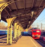 oud station en trainn stock foto