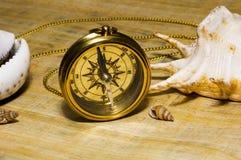 Oud stijl gouden kompas stock foto's