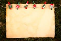 Oud stijldocument met Kerstmisornamenten Royalty-vrije Stock Afbeelding