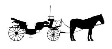 Oud stijlvervoer met één paardsilhouet Stock Foto