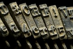 Oud stoffig schrijfmachinedetail stock foto