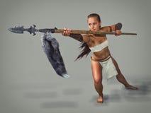 Oud strijdersmeisje Por met spear Stock Fotografie